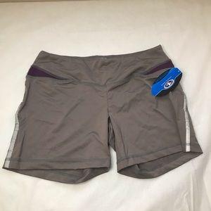 ATHLETIC WORKS ladies shorts in grey & purple Med